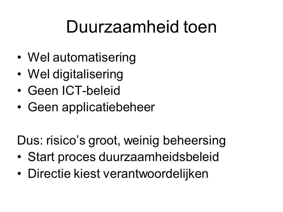 Duurzaamheid toen Wel automatisering Wel digitalisering Geen ICT-beleid Geen applicatiebeheer Dus: risico's groot, weinig beheersing Start proces duur