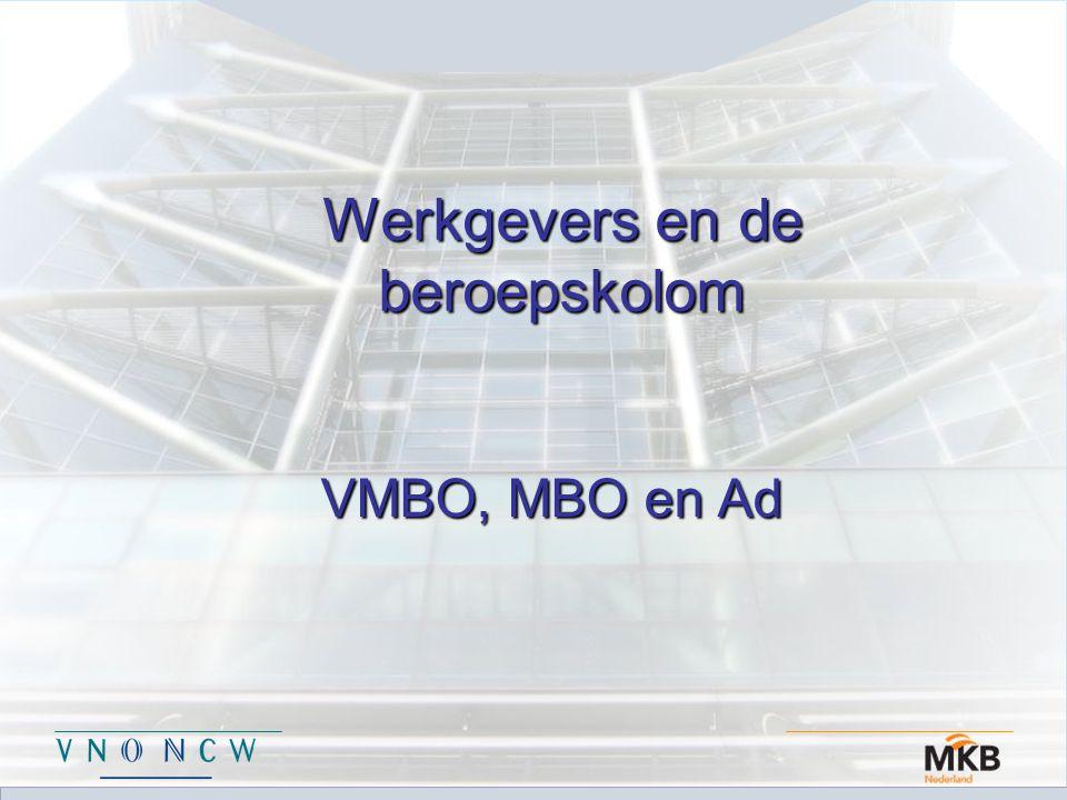 Werkgevers en de beroepskolom VMBO, MBO en Ad