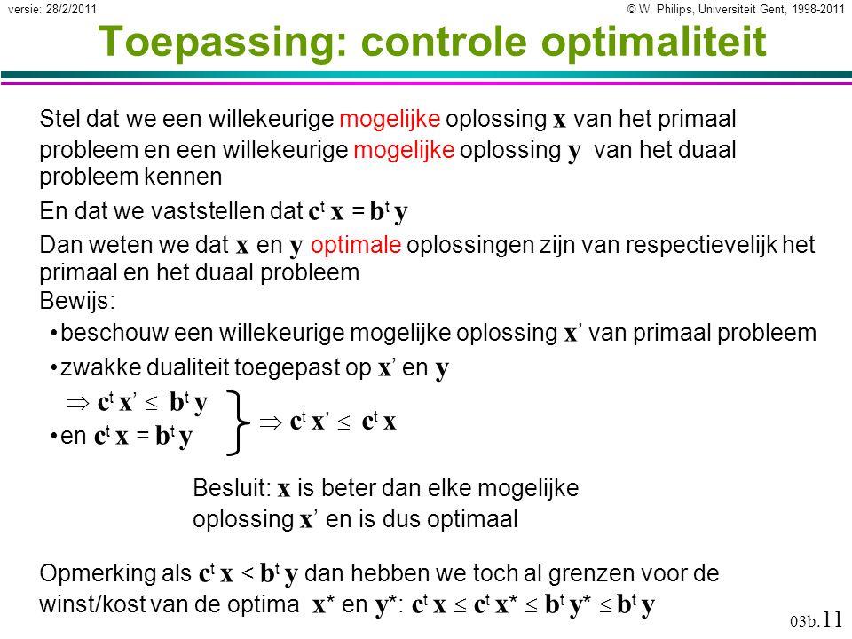 © W. Philips, Universiteit Gent, 1998-2011versie: 28/2/2011 03b. 11 zwakke dualiteit toegepast op x ' en y  ct x'  bt y  ct x'  bt y en c t x = b