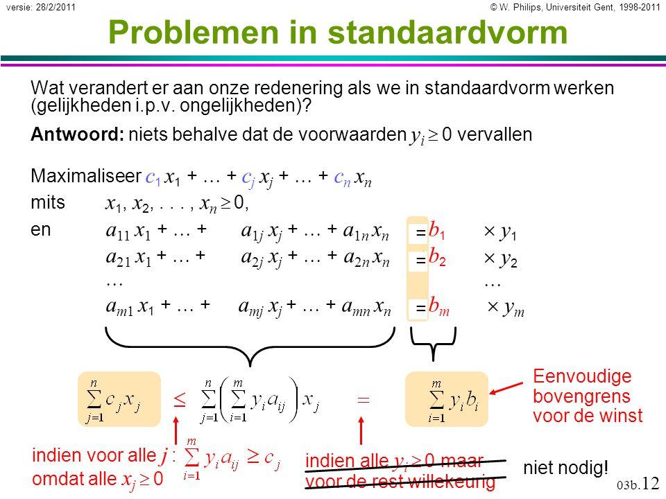 © W. Philips, Universiteit Gent, 1998-2011versie: 28/2/2011 03b. 12 Problemen in standaardvorm Wat verandert er aan onze redenering als we in standaar