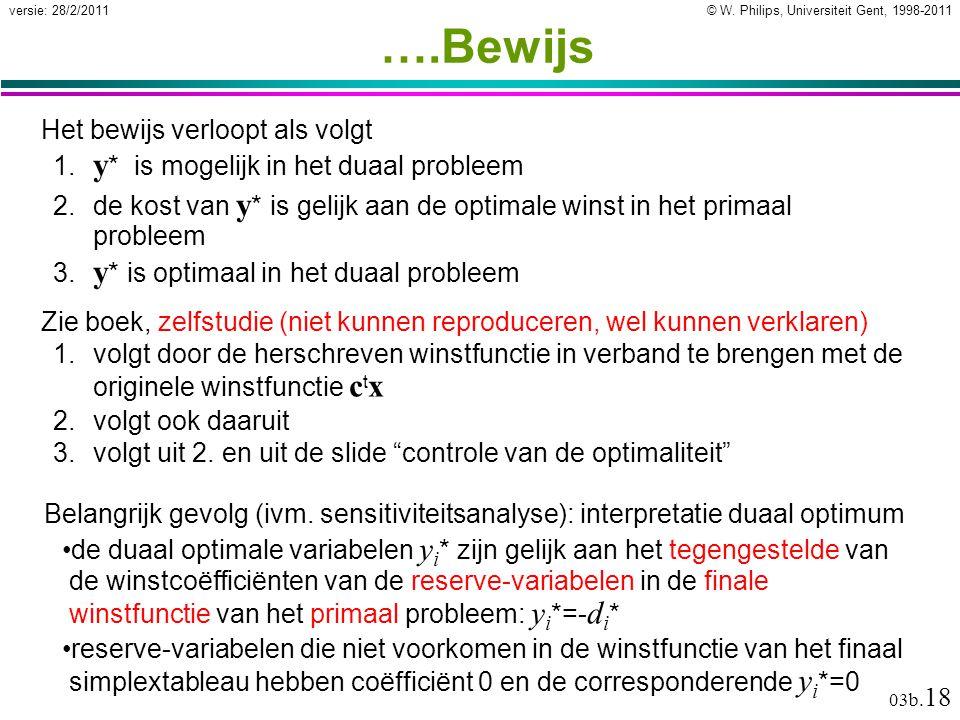 © W. Philips, Universiteit Gent, 1998-2011versie: 28/2/2011 03b. 18 ….Bewijs Zie boek, zelfstudie (niet kunnen reproduceren, wel kunnen verklaren) 1.v