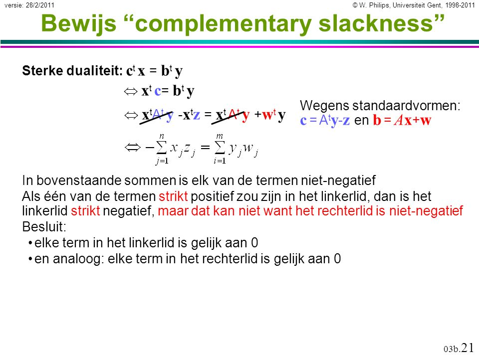 """© W. Philips, Universiteit Gent, 1998-2011versie: 28/2/2011 03b. 21 Bewijs """"complementary slackness"""" Sterke dualiteit: c t x = b t y In bovenstaande s"""
