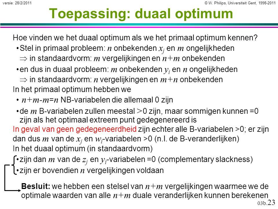 © W. Philips, Universiteit Gent, 1998-2011versie: 28/2/2011 03b. 23 Toepassing: duaal optimum Hoe vinden we het duaal optimum als we het primaal optim
