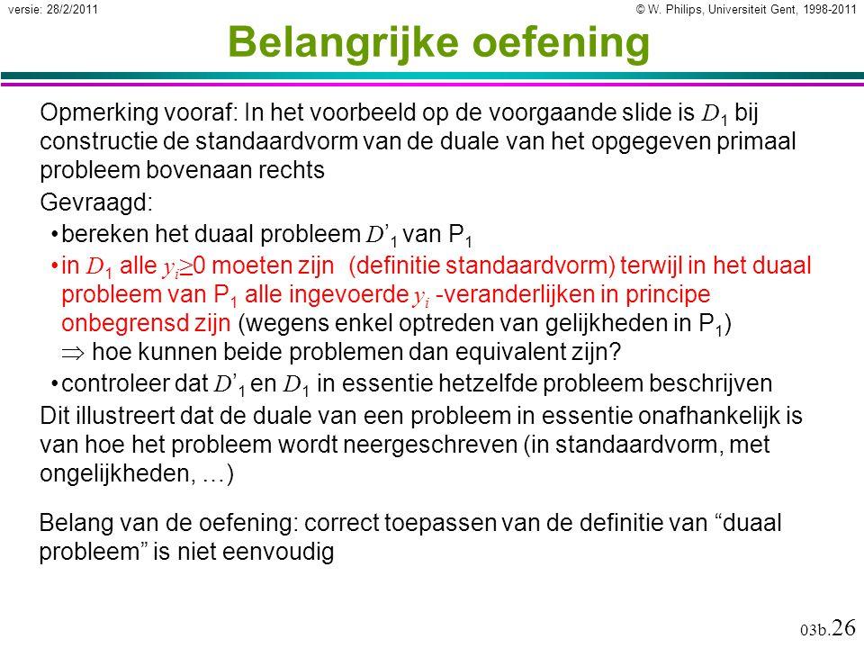 © W. Philips, Universiteit Gent, 1998-2011versie: 28/2/2011 03b. 26 Belangrijke oefening Opmerking vooraf: In het voorbeeld op de voorgaande slide is