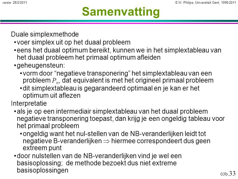 © W. Philips, Universiteit Gent, 1998-2011versie: 28/2/2011 03b. 33 Samenvatting Duale simplexmethode voer simplex uit op het duaal probleem eens het