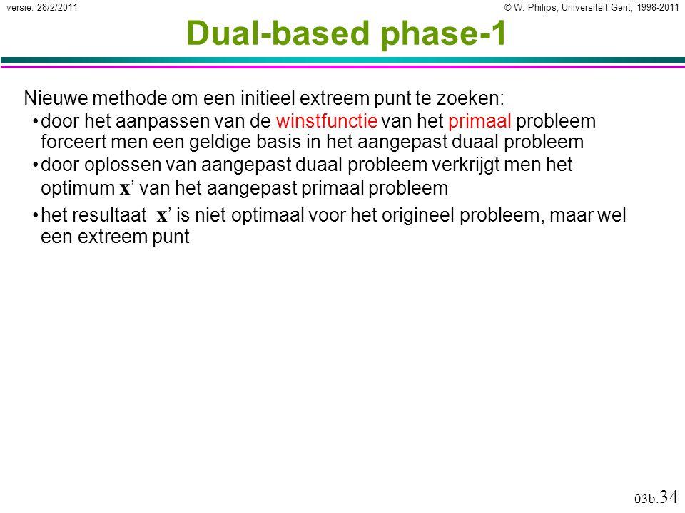 © W. Philips, Universiteit Gent, 1998-2011versie: 28/2/2011 03b. 34 Dual-based phase-1 Nieuwe methode om een initieel extreem punt te zoeken: door het