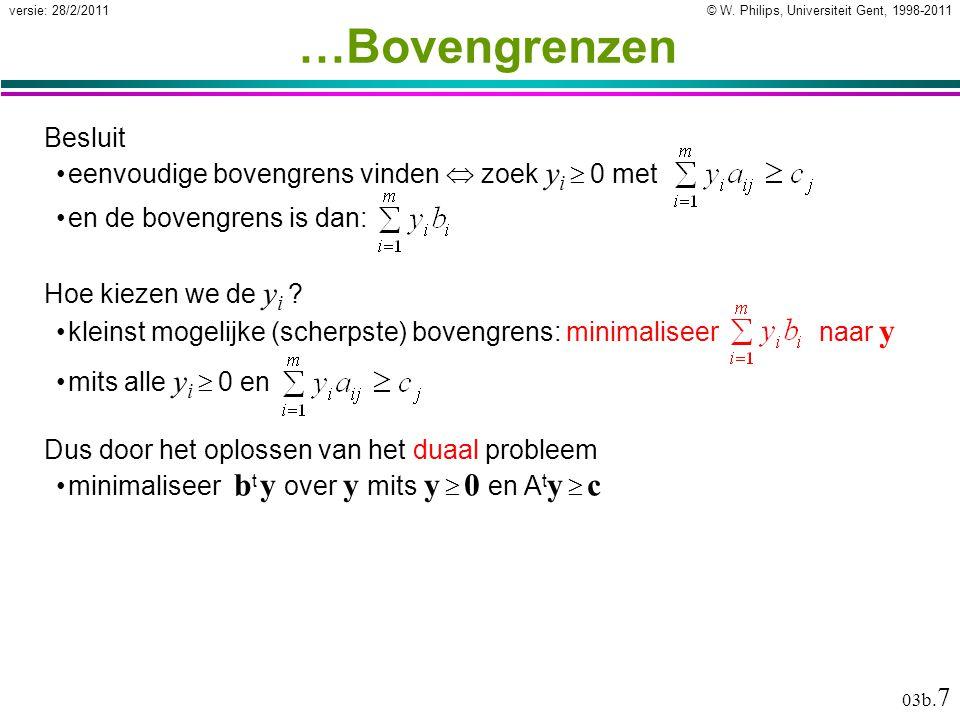 © W. Philips, Universiteit Gent, 1998-2011versie: 28/2/2011 03b. 7 Besluit eenvoudige bovengrens vinden  zoek y i  0 met …Bovengrenzen en de bovengr