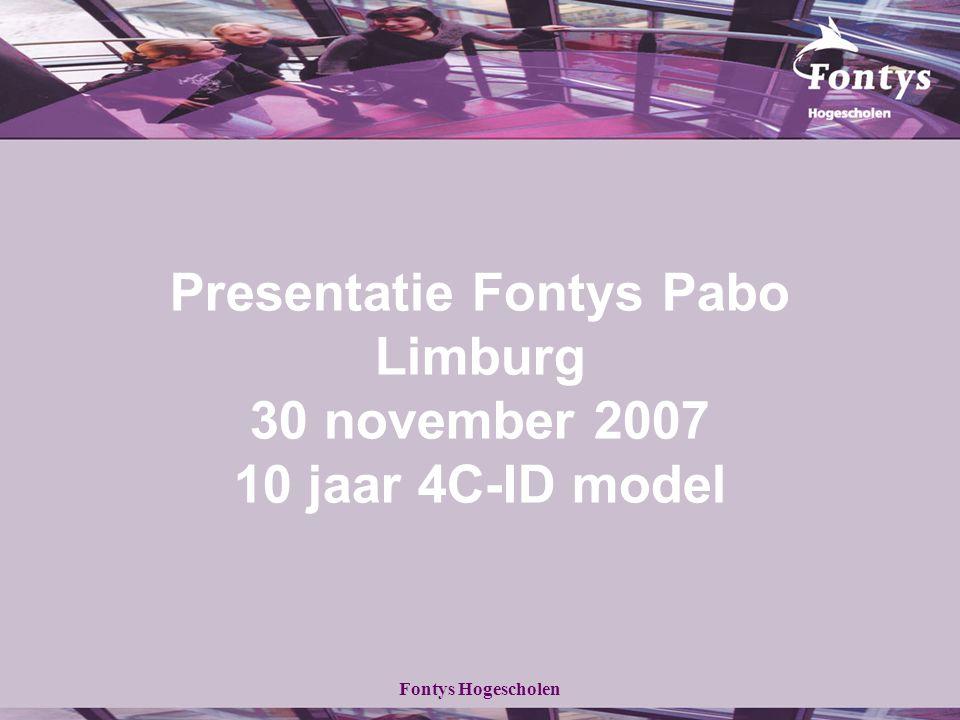 Fontys Hogescholen Presentatie Fontys Pabo Limburg 30 november 2007 10 jaar 4C-ID model