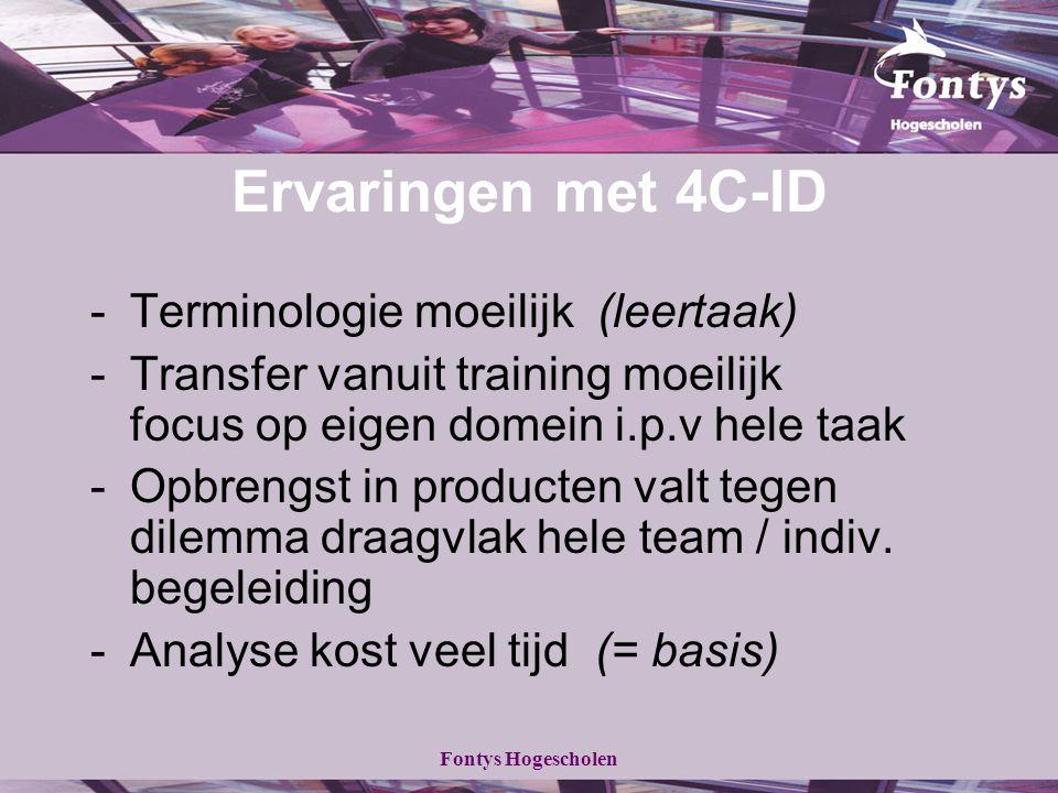 Fontys Hogescholen Ervaringen met 4C-ID -Terminologie moeilijk (leertaak) -Transfer vanuit training moeilijk focus op eigen domein i.p.v hele taak -Op