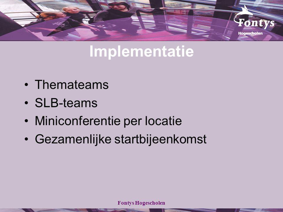 Fontys Hogescholen Implementatie Themateams SLB-teams Miniconferentie per locatie Gezamenlijke startbijeenkomst