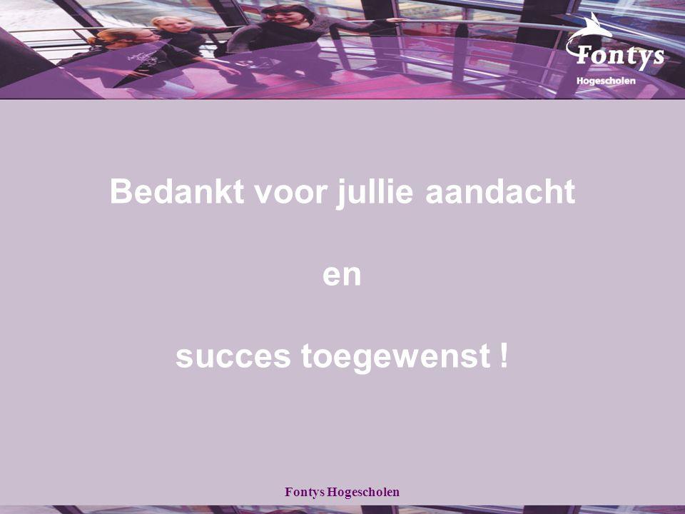 Fontys Hogescholen Bedankt voor jullie aandacht en succes toegewenst !