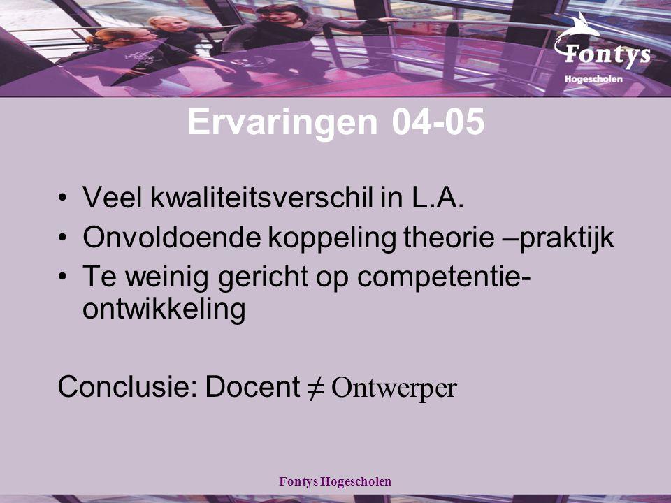 Fontys Hogescholen Ervaringen 04-05 Veel kwaliteitsverschil in L.A. Onvoldoende koppeling theorie –praktijk Te weinig gericht op competentie- ontwikke