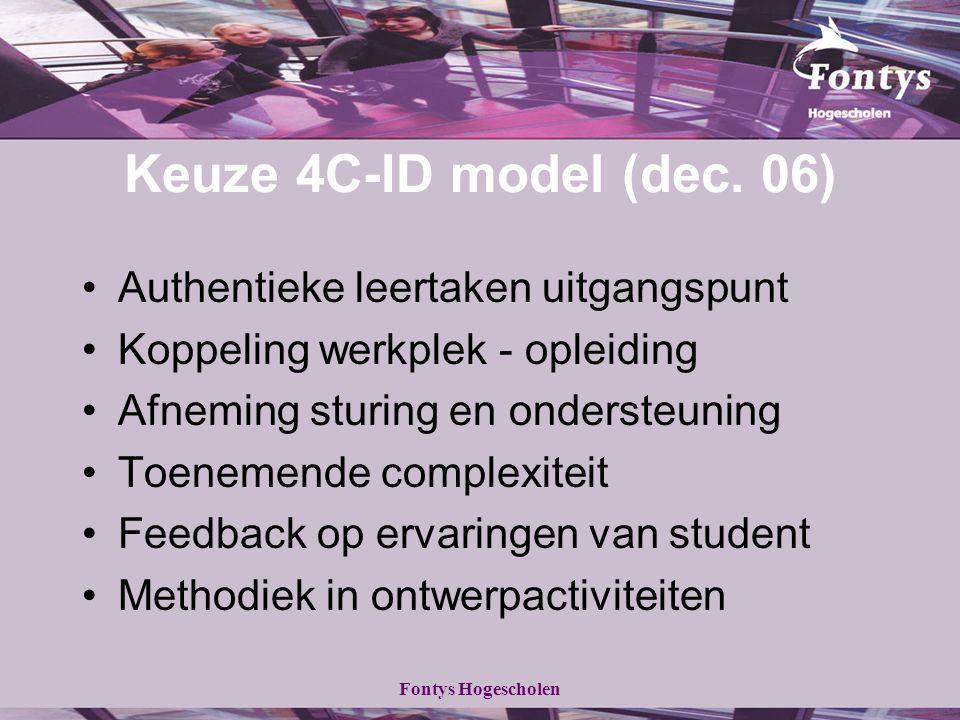 Fontys Hogescholen Keuze 4C-ID model (dec. 06) Authentieke leertaken uitgangspunt Koppeling werkplek - opleiding Afneming sturing en ondersteuning Toe