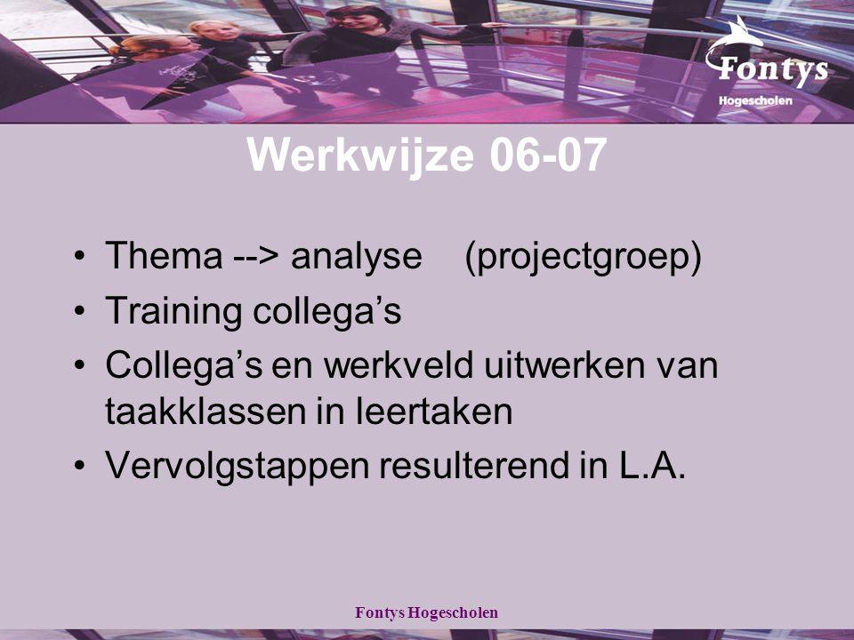 Fontys Hogescholen Werkwijze 06-07 Thema --> analyse (projectgroep) Training collega's Collega's en werkveld uitwerken van taakklassen in leertaken Ve