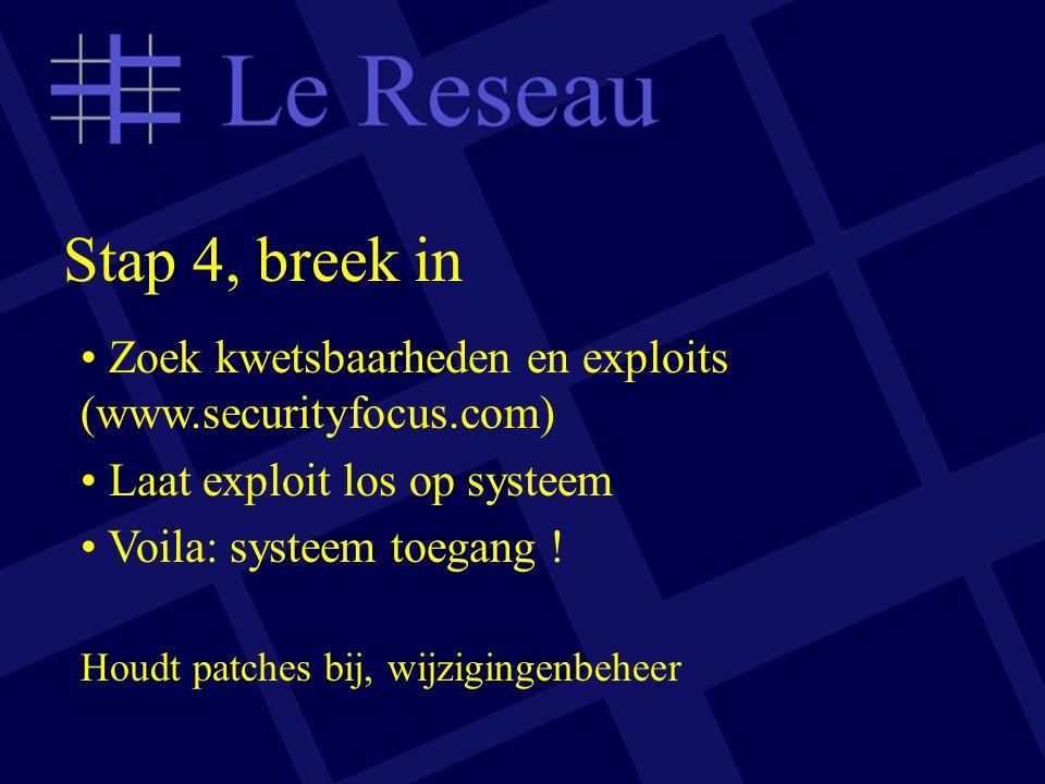 Stap 4, breek in Zoek kwetsbaarheden en exploits (www.securityfocus.com) Laat exploit los op systeem Voila: systeem toegang .