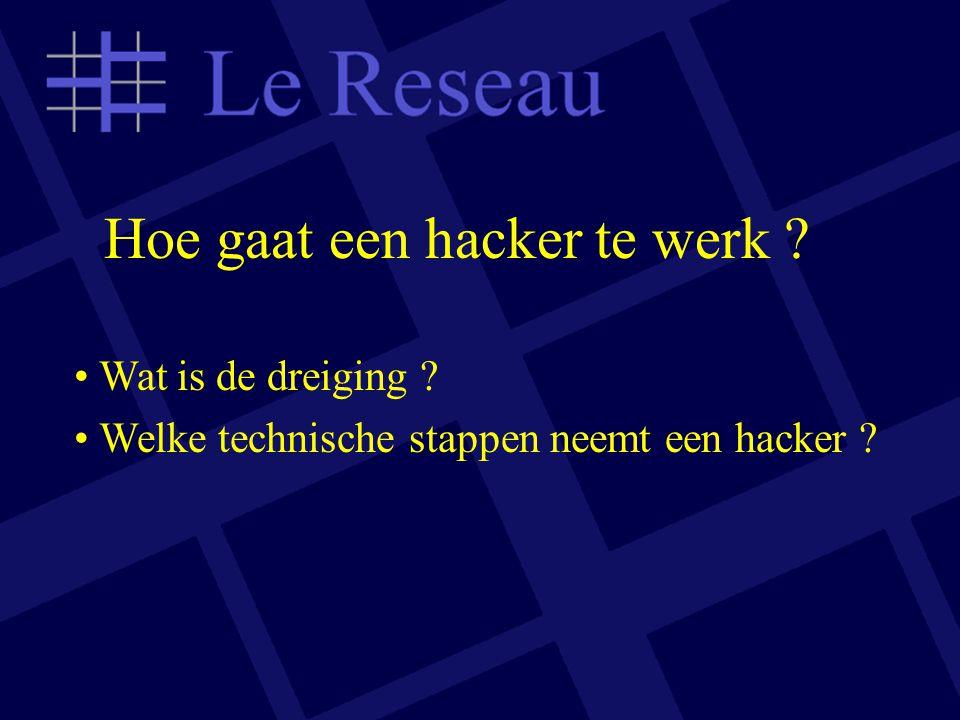 Hoe gaat een hacker te werk ? Wat is de dreiging ? Welke technische stappen neemt een hacker ?