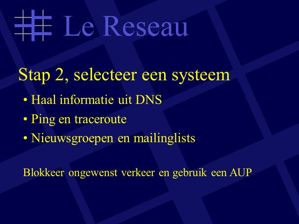 Stap 2, selecteer een systeem Haal informatie uit DNS Ping en traceroute Nieuwsgroepen en mailinglists Blokkeer ongewenst verkeer en gebruik een AUP