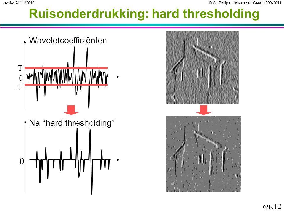 """© W. Philips, Universiteit Gent, 1999-2011versie: 24/11/2010 08b. 12 Ruisonderdrukking: hard thresholding Waveletco ë fficiënten 0 T -T 0 Na """"hard thr"""