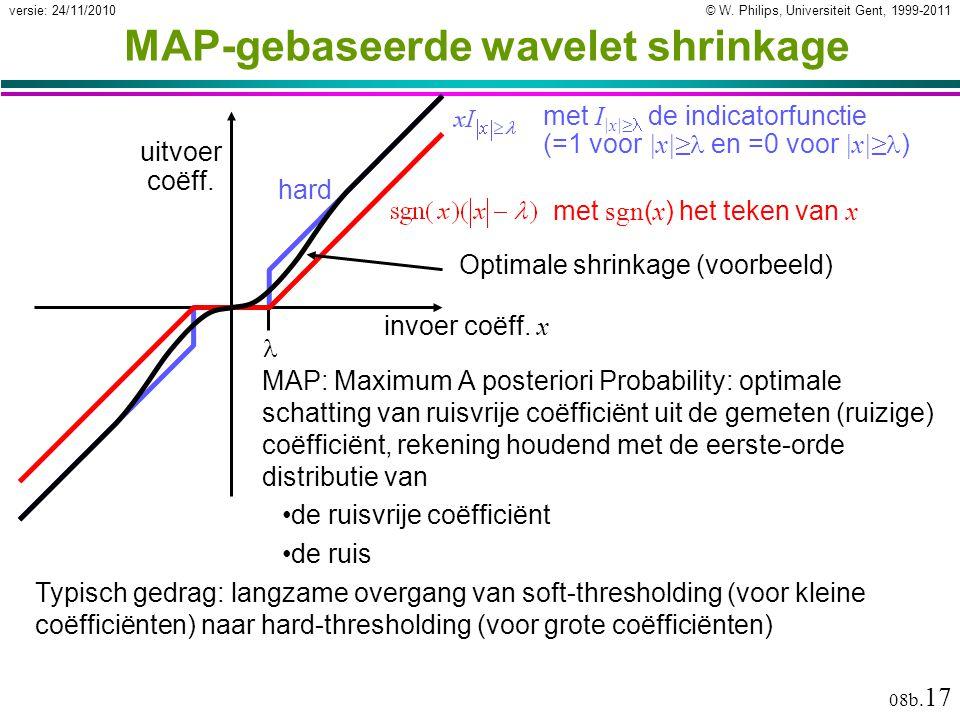 © W. Philips, Universiteit Gent, 1999-2011versie: 24/11/2010 08b. 17 MAP-gebaseerde wavelet shrinkage MAP: Maximum A posteriori Probability: optimale