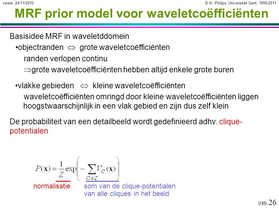 © W. Philips, Universiteit Gent, 1999-2011versie: 24/11/2010 08b. 26 MRF prior model voor waveletcoëfficiënten Basisidee MRF in waveletddomein objectr