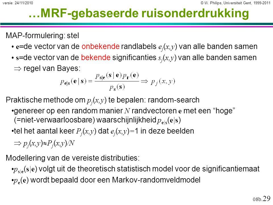 © W. Philips, Universiteit Gent, 1999-2011versie: 24/11/2010 08b. 29 Modellering van de vereiste distributies: p s|e ( s|e ) volgt uit de theoretisch