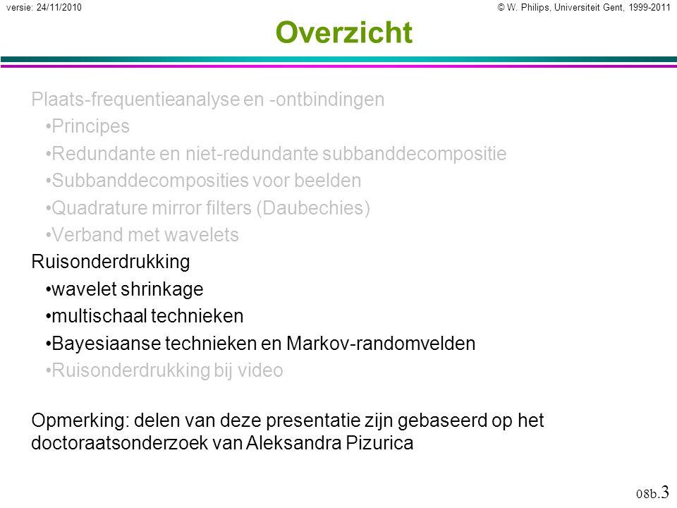© W. Philips, Universiteit Gent, 1999-2011versie: 24/11/2010 08b. 3 Overzicht Plaats-frequentieanalyse en -ontbindingen Principes Redundante en niet-r
