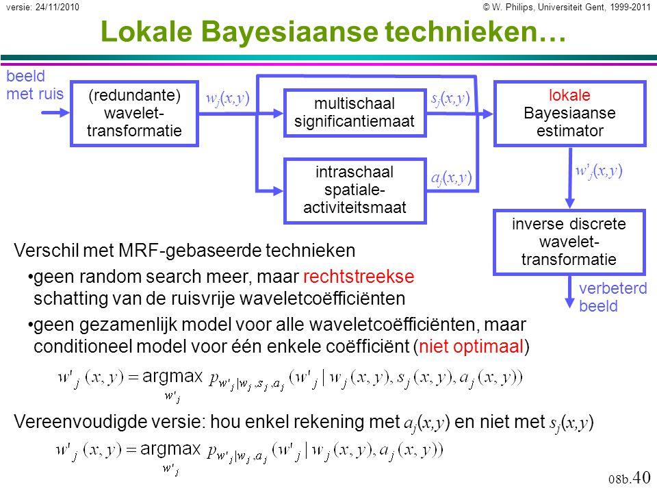 © W. Philips, Universiteit Gent, 1999-2011versie: 24/11/2010 08b. 40 Lokale Bayesiaanse technieken… multischaal significantiemaat (redundante) wavelet
