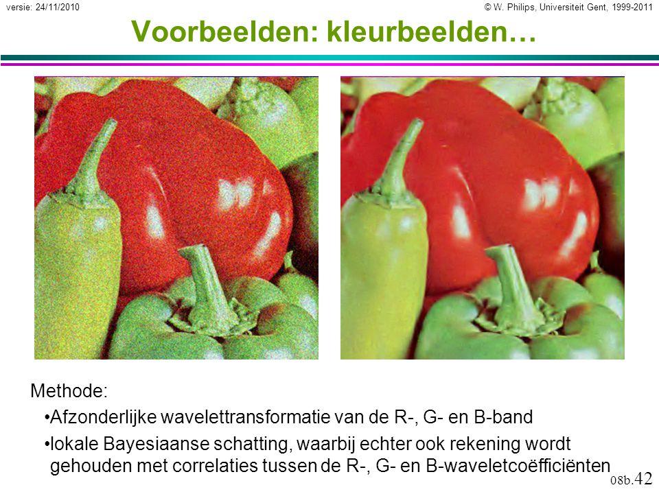 © W. Philips, Universiteit Gent, 1999-2011versie: 24/11/2010 08b. 42 Voorbeelden: kleurbeelden… Methode: Afzonderlijke wavelettransformatie van de R-,