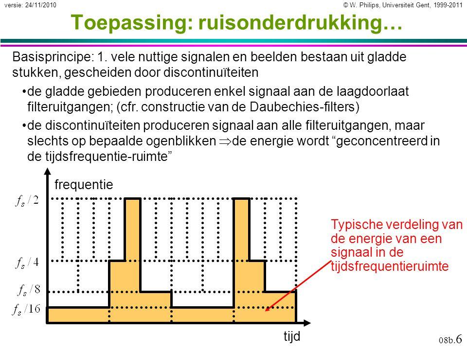 © W. Philips, Universiteit Gent, 1999-2011versie: 24/11/2010 08b. 6 Typische verdeling van de energie van een signaal in de tijdsfrequentieruimte Toep