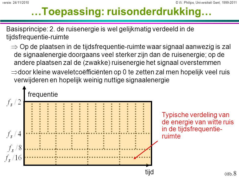 © W. Philips, Universiteit Gent, 1999-2011versie: 24/11/2010 08b. 8 …Toepassing: ruisonderdrukking… Basisprincipe: 2. de ruisenergie is wel gelijkmati