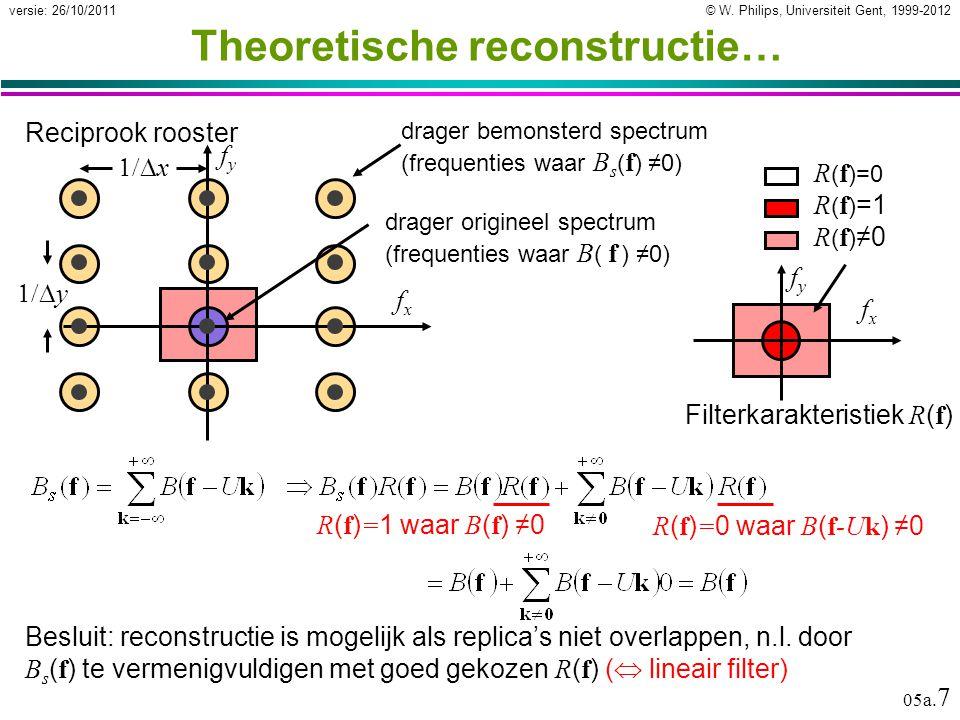 © W. Philips, Universiteit Gent, 1999-2012versie: 26/10/2011 05a. 7 Theoretische reconstructie… Besluit: reconstructie is mogelijk als replica's niet