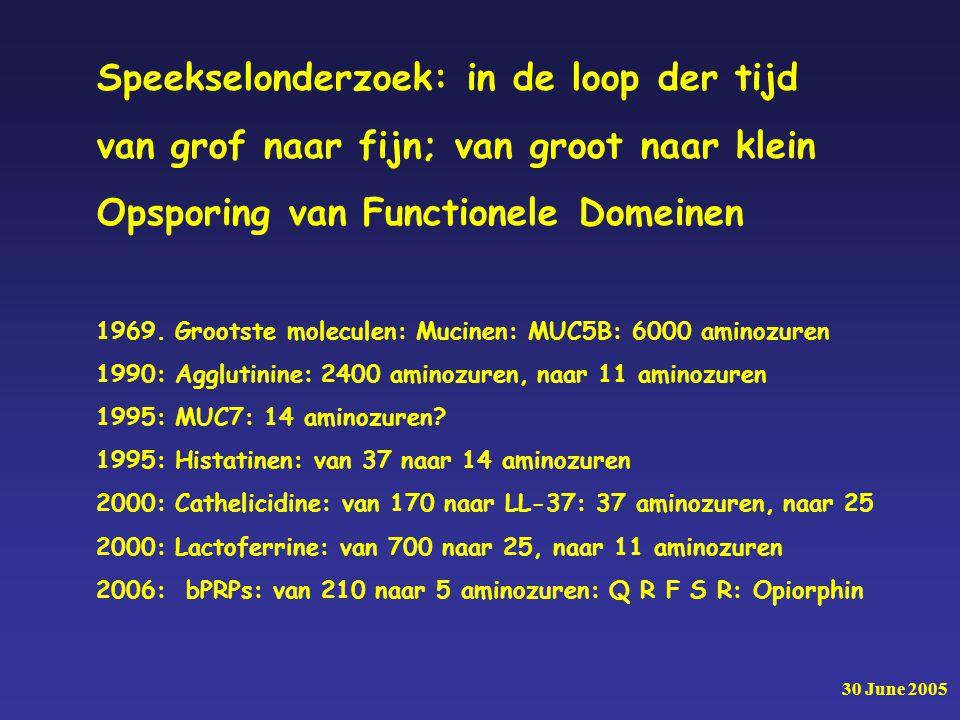 30 June 2005 Speekselonderzoek: in de loop der tijd van grof naar fijn; van groot naar klein Opsporing van Functionele Domeinen 1969.