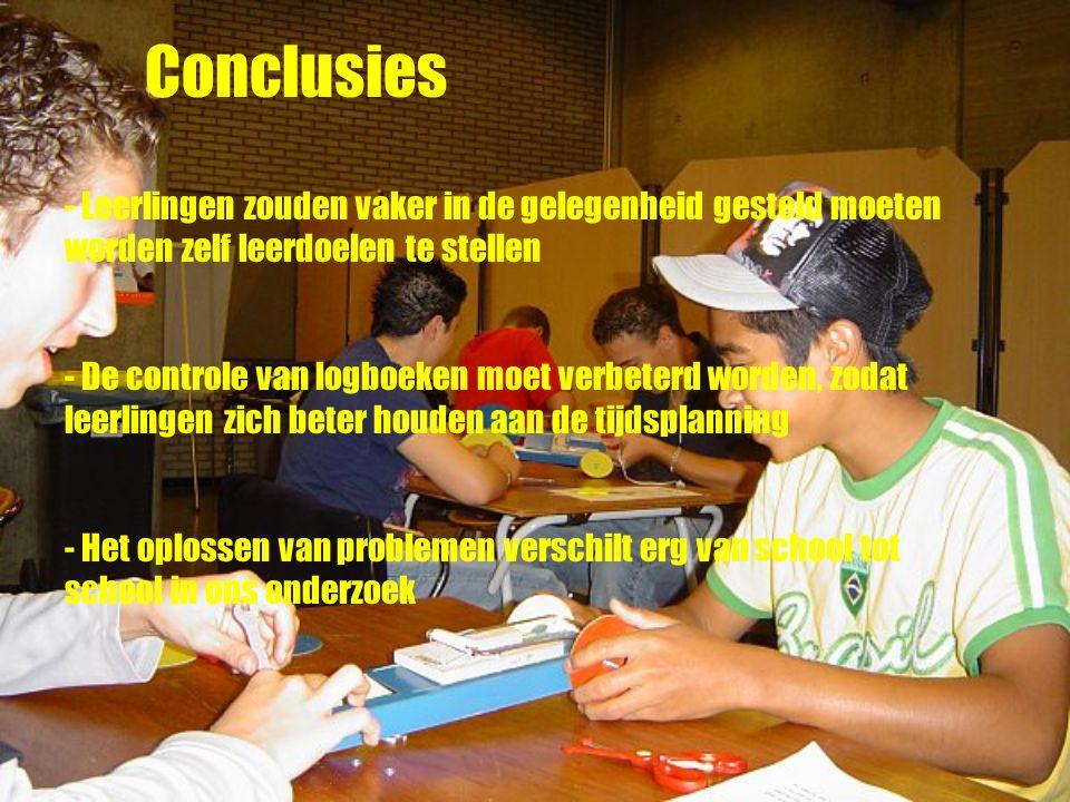 Conclusies - Leerlingen zouden vaker in de gelegenheid gesteld moeten worden zelf leerdoelen te stellen - De controle van logboeken moet verbeterd worden, zodat leerlingen zich beter houden aan de tijdsplanning - Het oplossen van problemen verschilt erg van school tot school in ons onderzoek