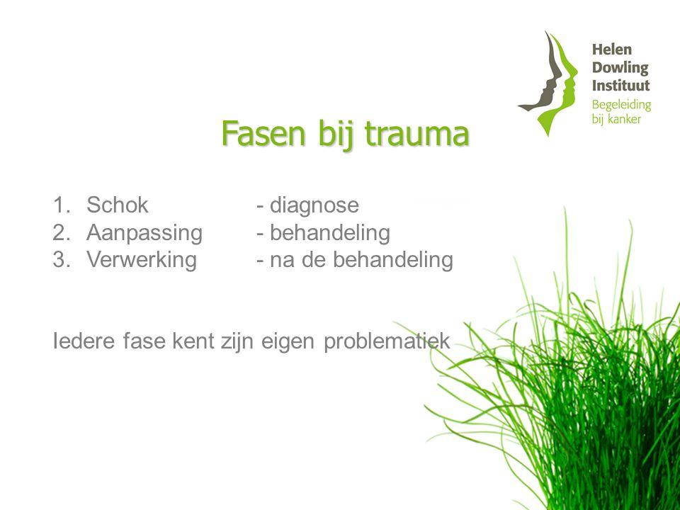 Fasen bij trauma 1. 1.Schok - diagnose 2. 2.Aanpassing- behandeling 3. 3.Verwerking - na de behandeling Iedere fase kent zijn eigen problematiek