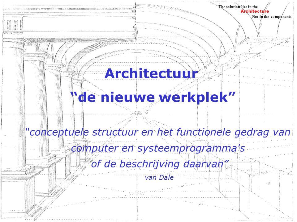 Architecture Not in the components The solution lies in the Samenwerken De ander moet herkenbaar en vindbaar zijn samenwerken moet plaats en tijdonafhankelijk mogelijk zijn Er is een gemeenschappelijke ruimte waar informatie weggezet kan worden