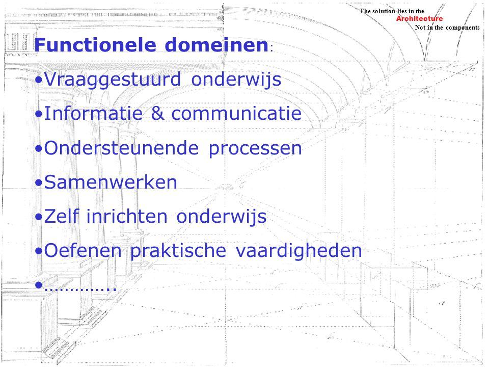 Architecture Not in the components The solution lies in the Functionele domeinen : Vraaggestuurd onderwijs Informatie & communicatie Ondersteunende processen Samenwerken Zelf inrichten onderwijs Oefenen praktische vaardigheden …………..
