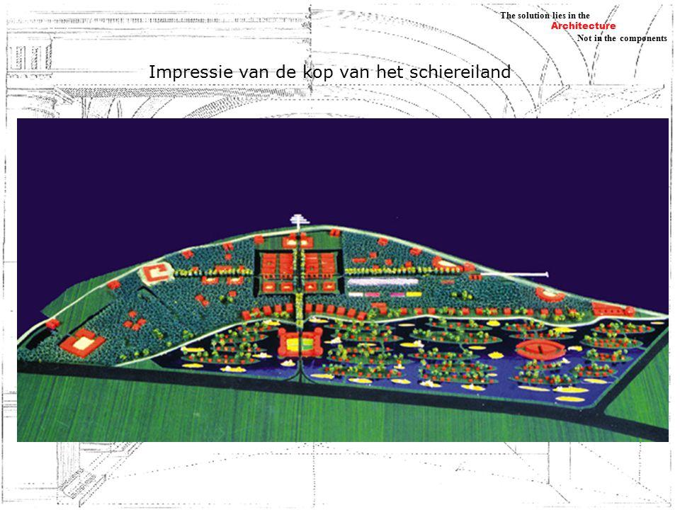 Architecture Not in the components The solution lies in the De huizen op de kop van het schiereiland, Ontmoeting van verschillende culturen, elk huis een eigen signatuur, delen van de stad hebben eigen karakter nieuwe watersystemen en singels