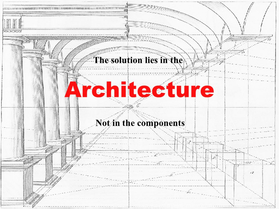 Architecture Not in the components The solution lies in the Architecture The solution lies in the Not in the components