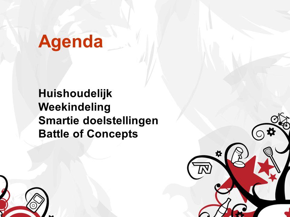 Agenda Huishoudelijk Weekindeling Smartie doelstellingen Battle of Concepts