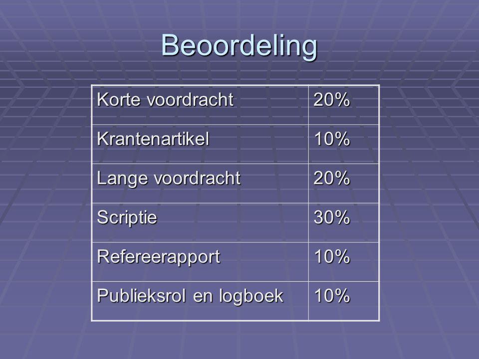 Beoordeling Korte voordracht 20% Krantenartikel10% Lange voordracht 20% Scriptie30% Refereerapport10% Publieksrol en logboek 10%