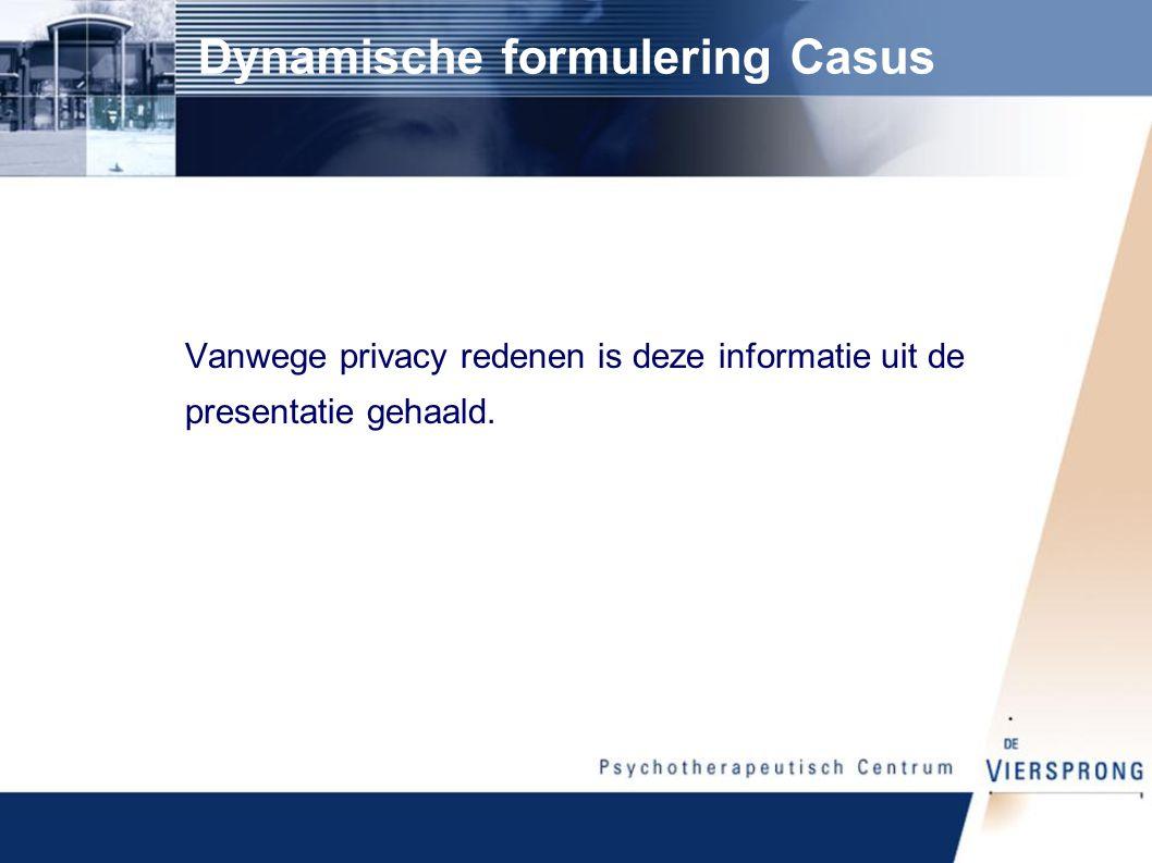 Dynamische formulering Casus Vanwege privacy redenen is deze informatie uit de presentatie gehaald.