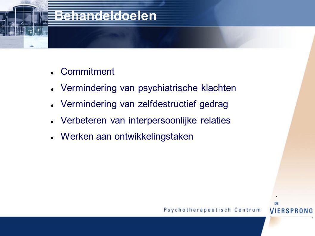 Behandeldoelen Commitment Vermindering van psychiatrische klachten Vermindering van zelfdestructief gedrag Verbeteren van interpersoonlijke relaties Werken aan ontwikkelingstaken