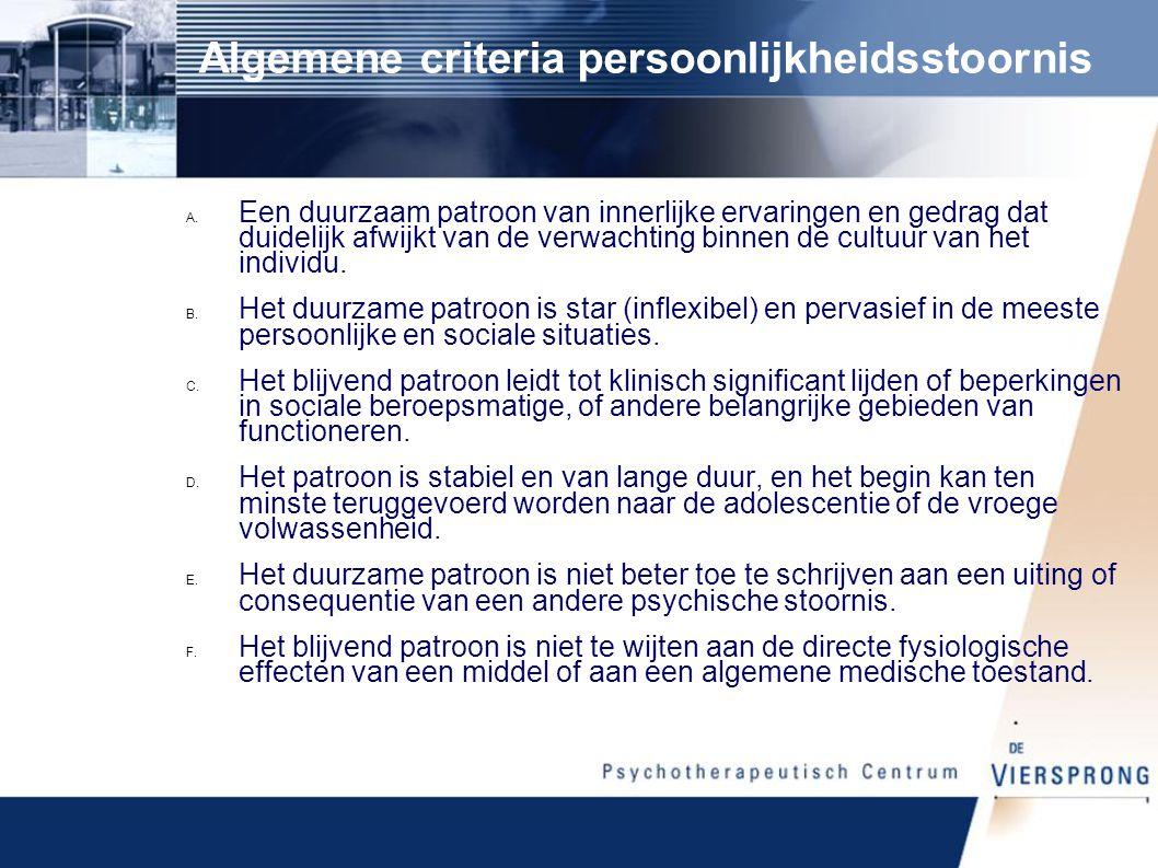 Algemene criteria persoonlijkheidsstoornis A.