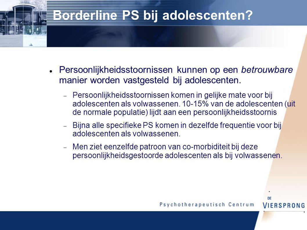 Prevalentie PS bij adolescenten Cluster A5,9% Paranoïde PS3,3% Schizoïde PS1,1% Schizotypische PS1,7% Cluster B7,1% Borderline PS2,4% Theatrale PS2,5% Narcistische PS3,1% Cluster C4,9% Ontwijkende PS2,0% Afhankelijke PS2,2% Obsessief-compulsieve PS1,1% Totaal14,4%