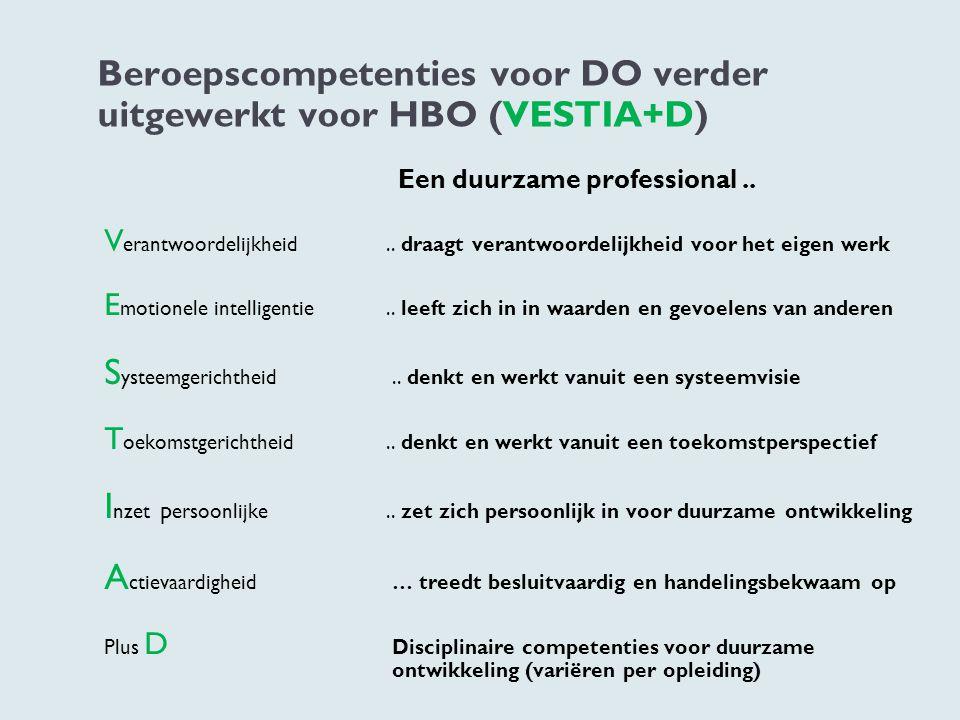 Beroepscompetenties voor DO verder uitgewerkt voor HBO (VESTIA+D) Een duurzame professional.. V erantwoordelijkheid.. draagt verantwoordelijkheid voor
