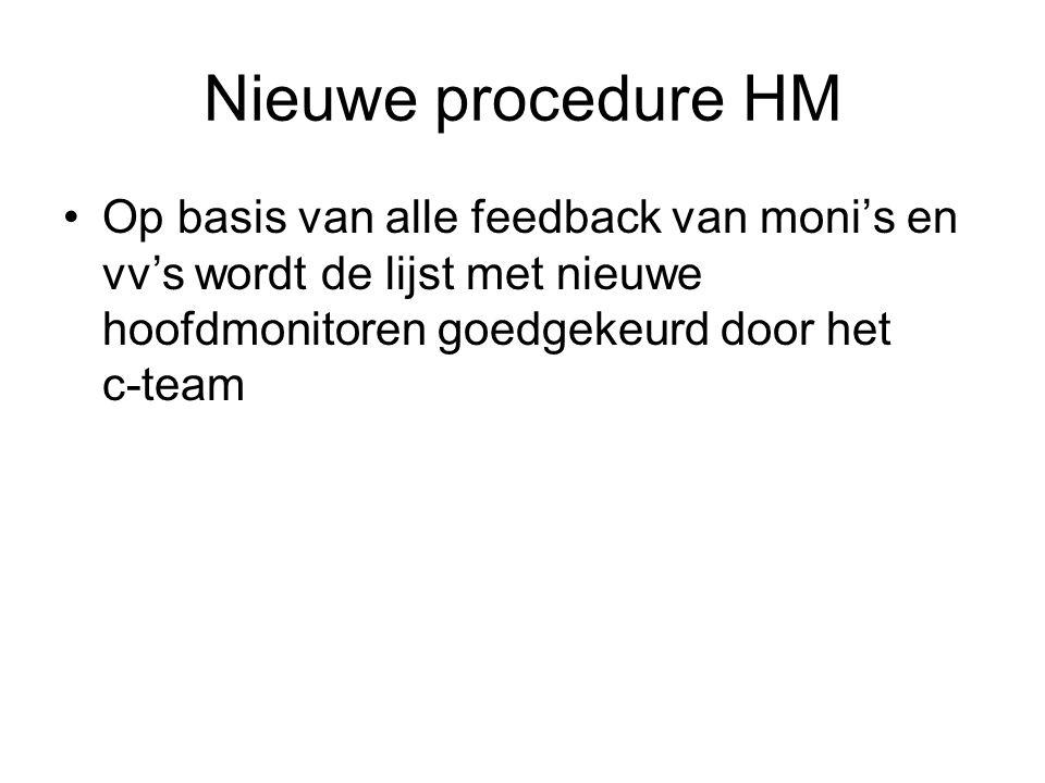 Nieuwe procedure HM Op basis van alle feedback van moni's en vv's wordt de lijst met nieuwe hoofdmonitoren goedgekeurd door het c-team