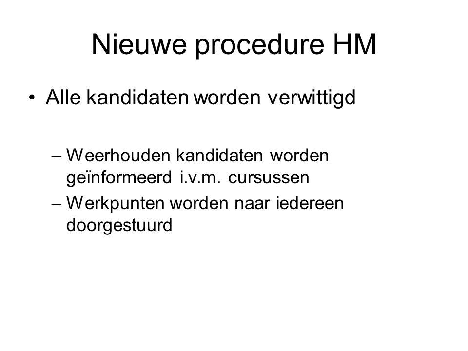 Nieuwe procedure HM Alle kandidaten worden verwittigd –Weerhouden kandidaten worden geïnformeerd i.v.m.