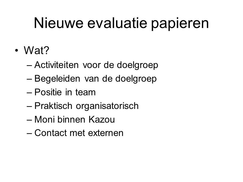 Nieuwe evaluatie papieren Wat.