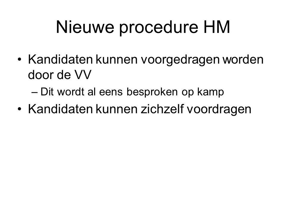 Nieuwe procedure HM Kandidaten kunnen voorgedragen worden door de VV –Dit wordt al eens besproken op kamp Kandidaten kunnen zichzelf voordragen