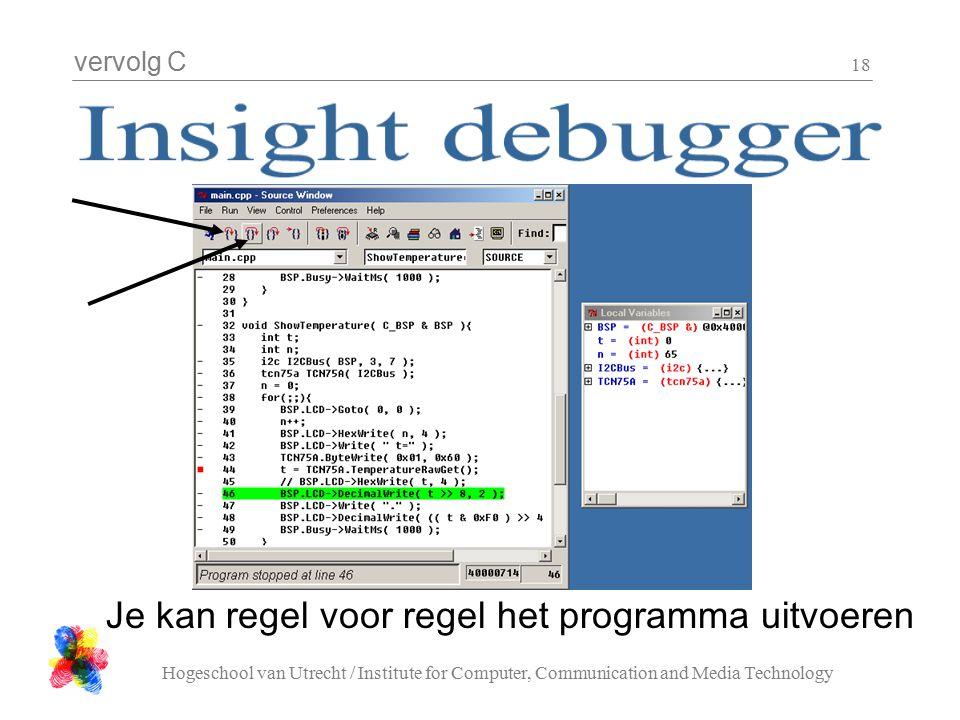 vervolg C Hogeschool van Utrecht / Institute for Computer, Communication and Media Technology 18 Je kan regel voor regel het programma uitvoeren